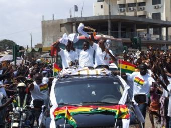 The Black Satellites in wild celebration...