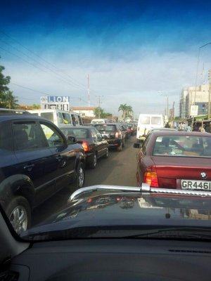 A picture of the traffic situation on the spintex road