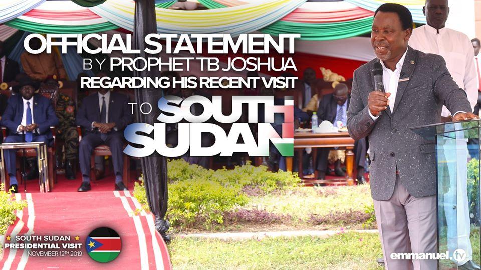 tb joshua, south sudan visit